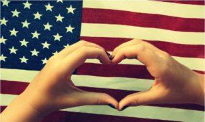 USA Flag and heart